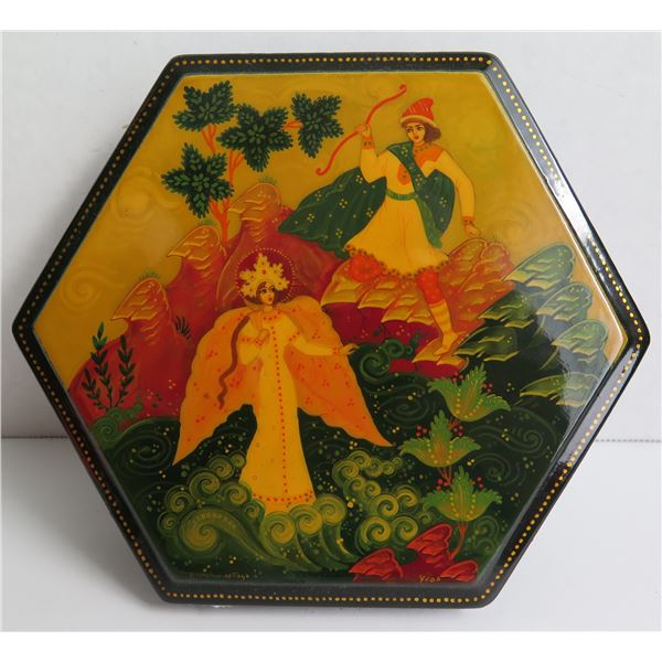 """Russian Lacquer Jewelry Box, Hexagonal Hand Painted Signed 6"""" W"""