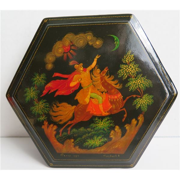 """Russian Lacquer Jewelry Box, Hexagonal Hand Painted w/Authentication 5"""" W"""