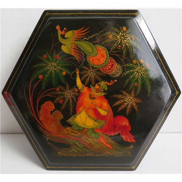 """Russian Lacquer Jewelry Box, Hexagonal Hand Painted Signed, 6""""W"""