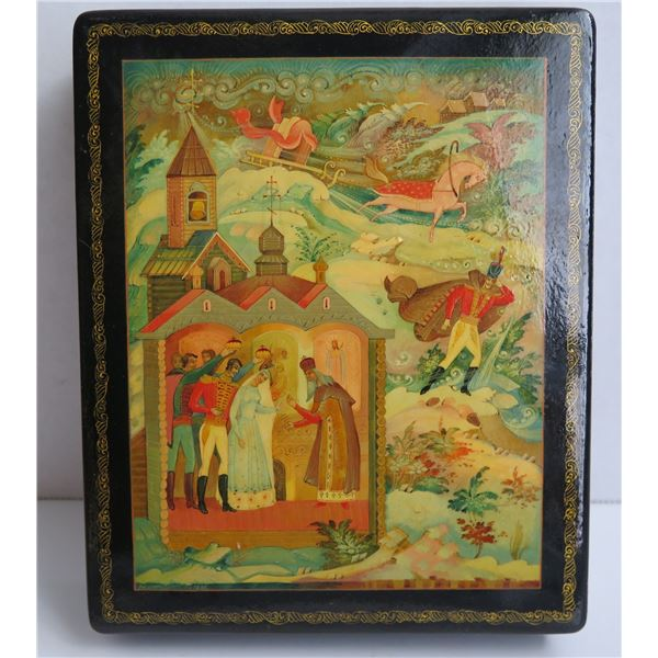 """Russian Lacquer Jewelry Box, Rectangular Hinged Lid Hand Painted Signed 5.5""""x 7"""""""