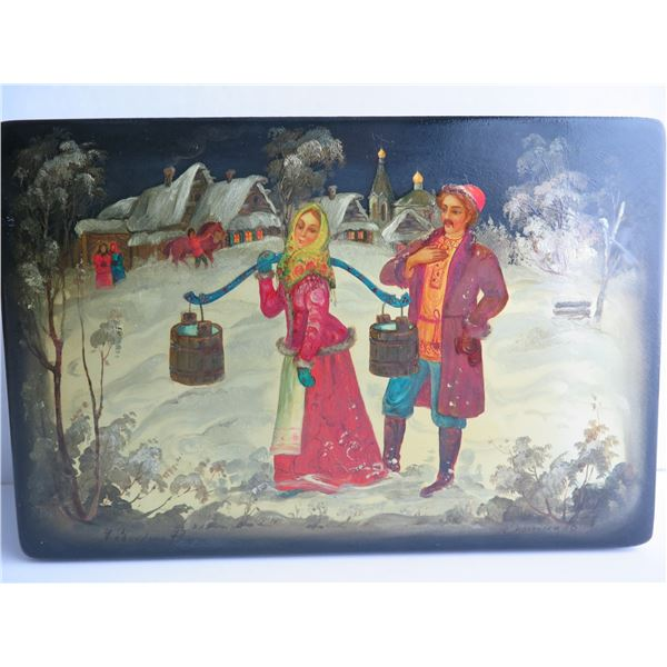 Russian Lacquer Jewelry Box, Rectangular Hinged Lid Hand Painted Signed