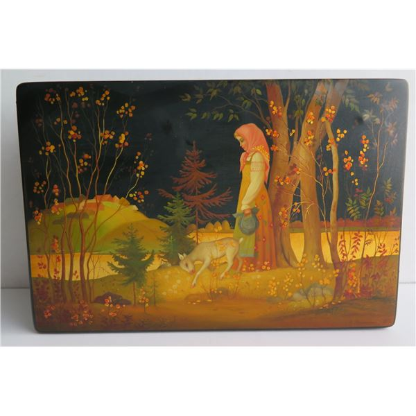 """Russian Lacquer Jewelry Box, Rectangular Hinged Lid, Hand Painted Signed 5.5""""x 8.25"""""""
