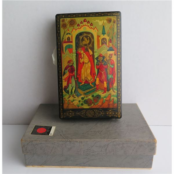 """Russian Lacquer Jewelry Box, Rectangular Hand Painted Signed 4.25""""x 8"""""""