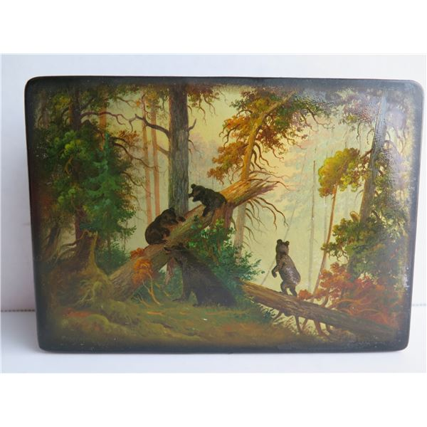 """Russian Lacquer Jewelry Box, Rectangular Hinged Lid, Hand Painted, Signed, 4.25""""x 6"""""""