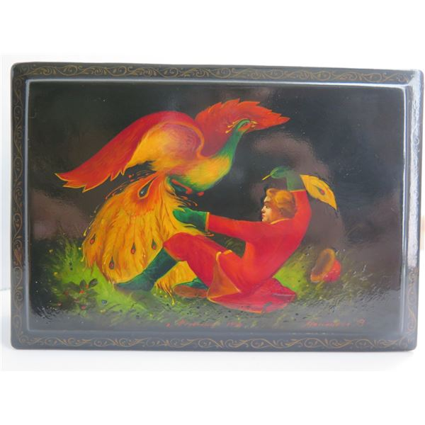 """Russian Lacquer Jewelry Box, Rectangular Hand Painted, Signed 4.25""""x 6.25"""""""