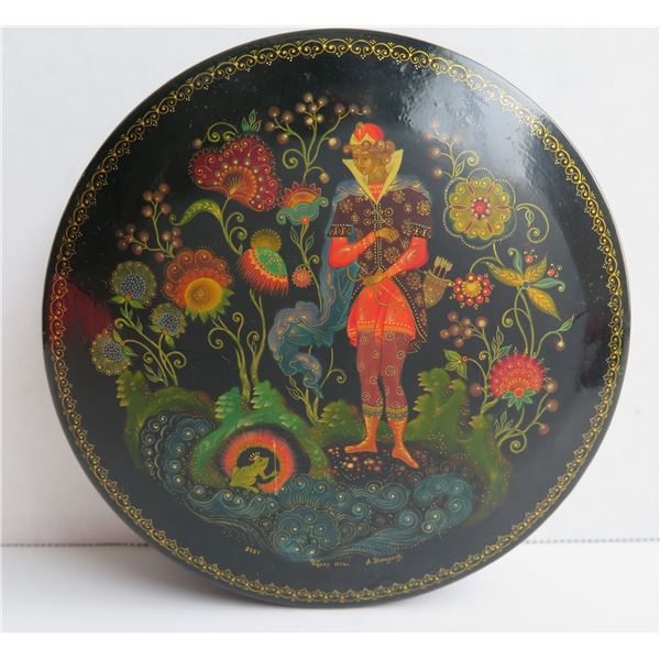 """Russian Lacquer Trinket Box, Round Hand Painted Signed 5.5"""" Dia"""