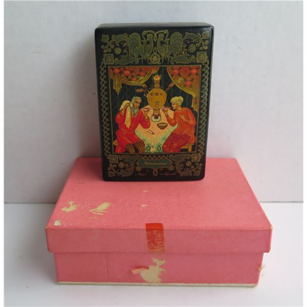 """Russian Lacquer Trinket Box, Rectangular Hand Painted Signed 3""""x 5"""""""