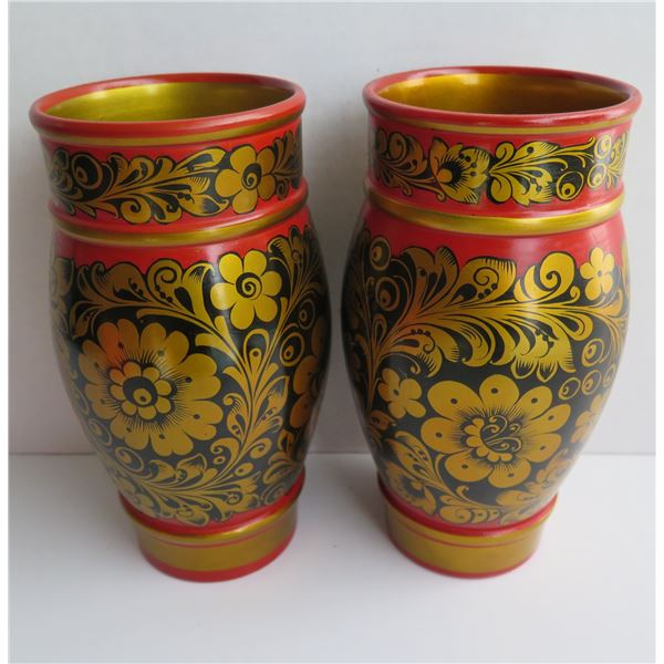 """Pair of Painted Russian Vases - Floral Red, Black, Gold 9"""" Tall"""