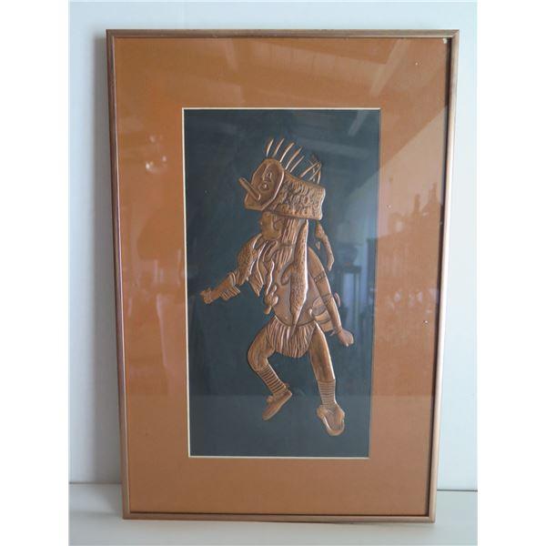 "Framed Art, Metal Engraved Native Print 12"" x 18"""