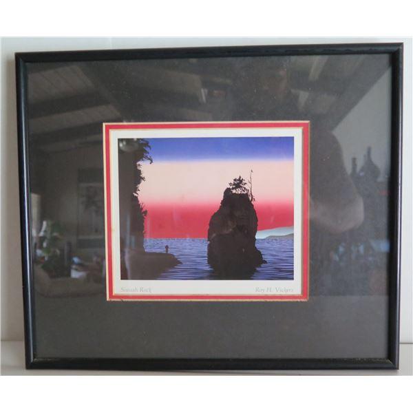 "Framed Art, ""Siwash Rock"" Roy H. Vickers Signed Print 13"" x 11"""
