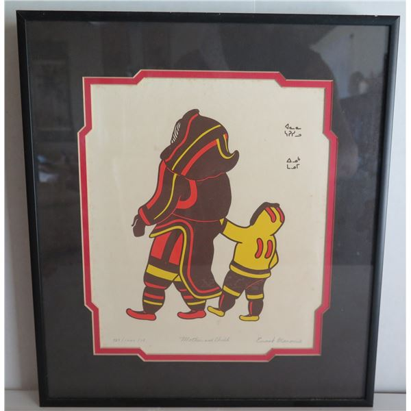 """Framed Art, """"Mother And Child"""" Limited Edition Enook Manomie Signed Print 13"""" x 14"""""""