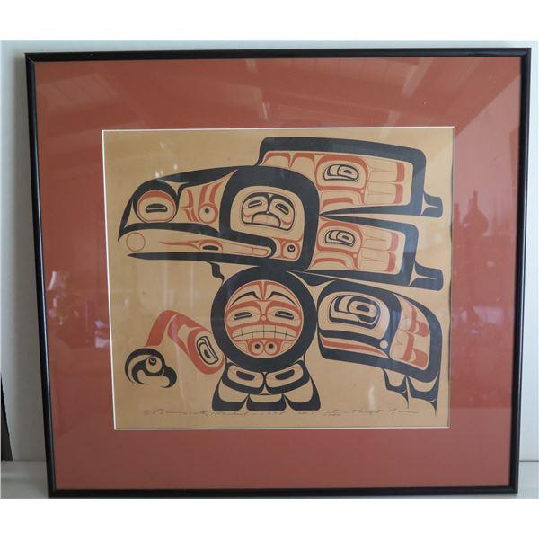 """Framed Art, """"Tlingit Raven"""" Limited Edition Glen Rabena Signed Print 21"""" x 19"""""""