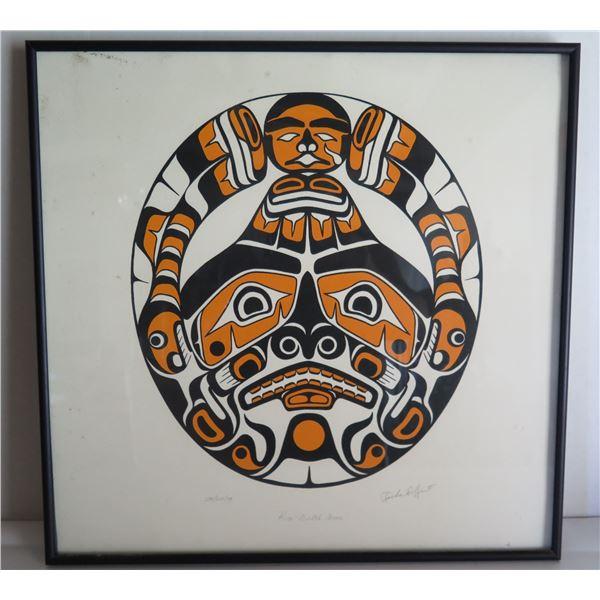 "Framed Art, Kiva-Gulth Moon Limited Edition, Richard Hunt Signed Print 19"" x 18"""