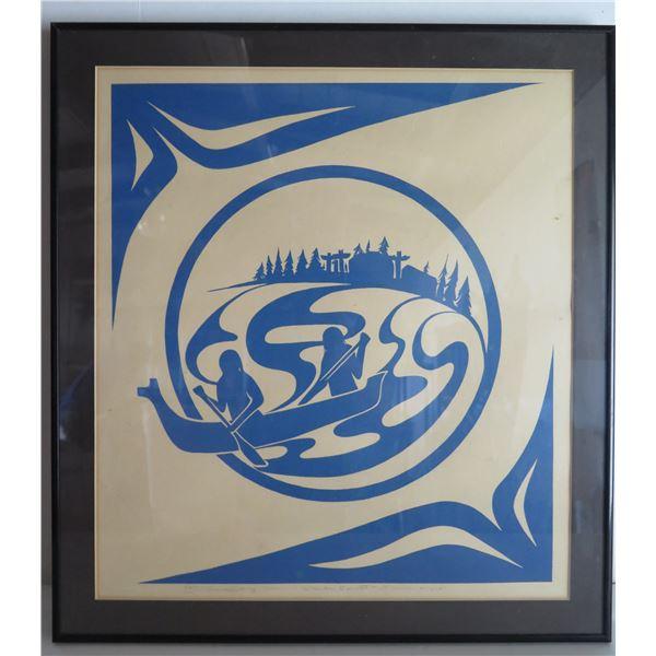 """Framed Art, Blue & White Landscape Ltd. Ed. 50/180 Signed Print, Charles Elliott 21"""" x 23"""""""