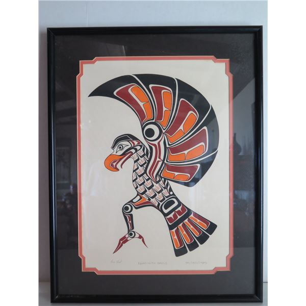 "Framed Art, ""Kwagiulth Eagle"" Limited Edition Richard Hunt Signed Print 17"" x 22"""