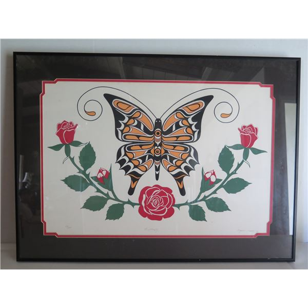 """Framed Art, """"Butterfly"""" Limited Edition Eugene Isaac Signed Print 30"""" x 22"""""""