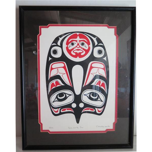 "Framed Art,""Raven and the Sun"" Limited Edition J. Bradley Hunt Signed Print 16"" x 20"""