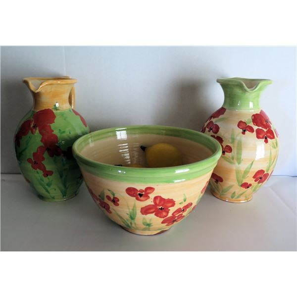 """Qty 3 French Ceramic Dishware, 2 Pitchers, 1 Bowl 11"""" Dia, Patrick (Poterie) Galtie  Signed"""