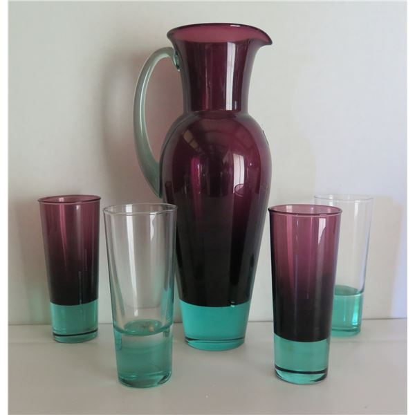 """Qty 5 Royal Copenhagen Colored Crystal Pitcher and 4 glasses 11.5"""" Tall"""