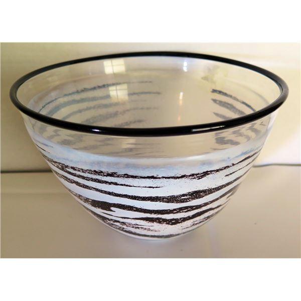 "Kosta Boda, Glass Bowl, Black and White, Signed 10"" Dia"