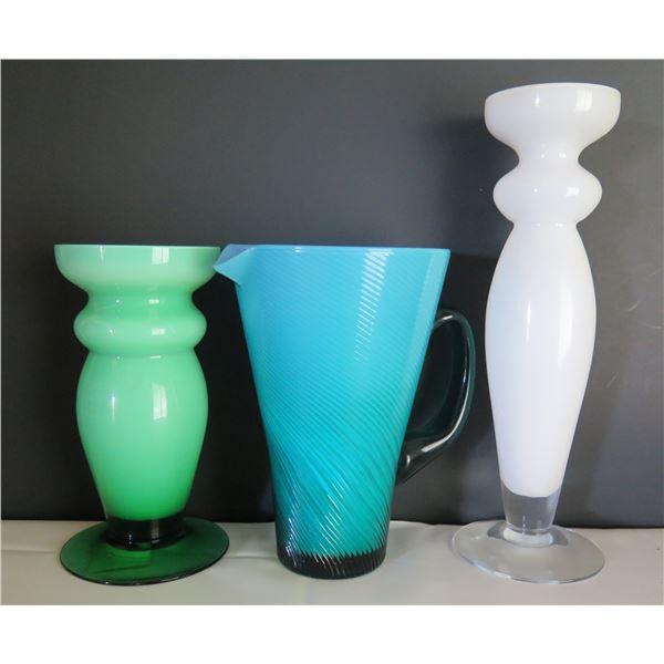 Qty 3 Glass Vases, Villeroy & Boch Water Pitcher Maker's Mark