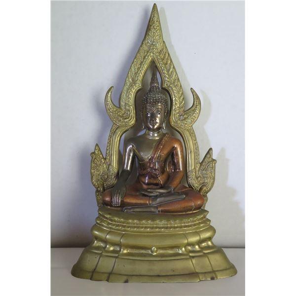 "Seated Buddha on Stand w/ Metal Ornamentation 13"" Tall"