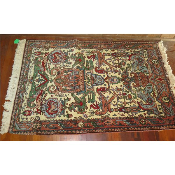 "Persian Rug, Geometric Pattern Red/Green/Blue/White 64"" x 42"""