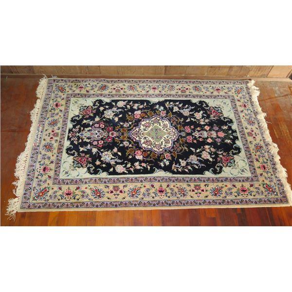"Persian Rug, Hand Woven Floral Motif Black/Cream/Maker's Mark 69"" x 44"""