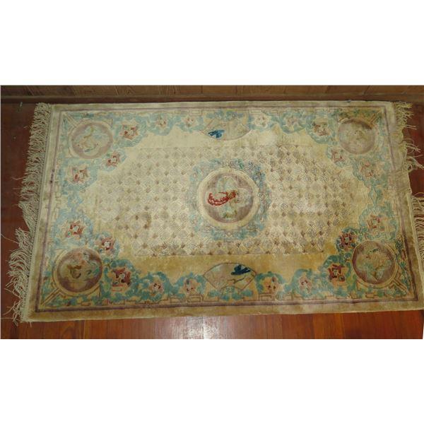 "Oriental Rug, Bird & Floral Motif Cream/Brown/Aqua 59"" x 36"""