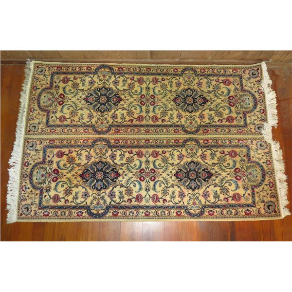 """Persian Rug, Floral Motif White/Red/Blue/Navy 56"""" x 37"""""""