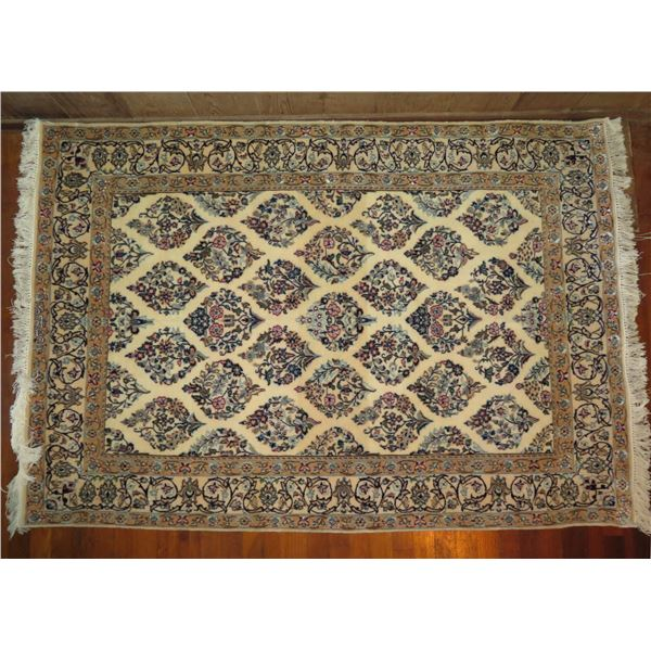 """Persian Rug, Hand Woven Floral Motif White/Navy/Pink/Blue 66""""x 45"""""""