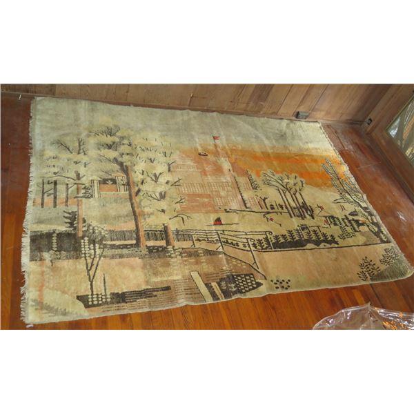 "Wool Rug w/Landscape Motif, Cream/Tan/Black/Orange 103"" x 69"""