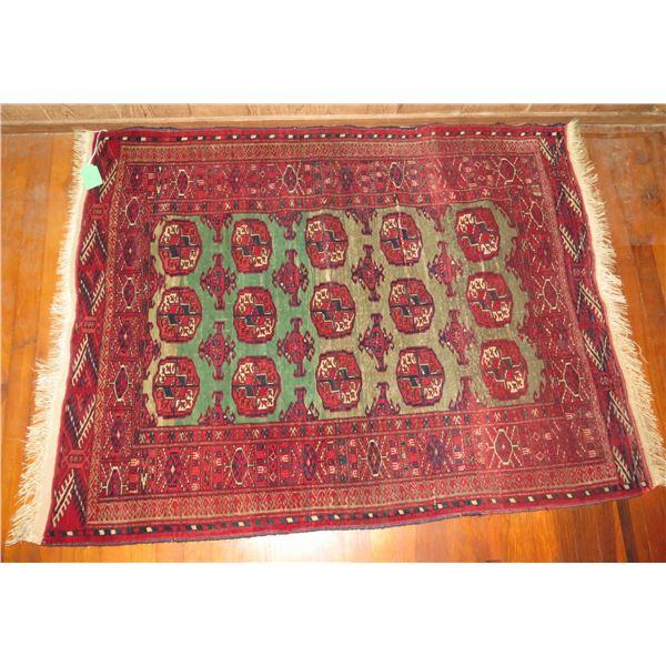 "Persian Rug, Geometric Pattern Red/Green/Navy/White 53"" x 40"""