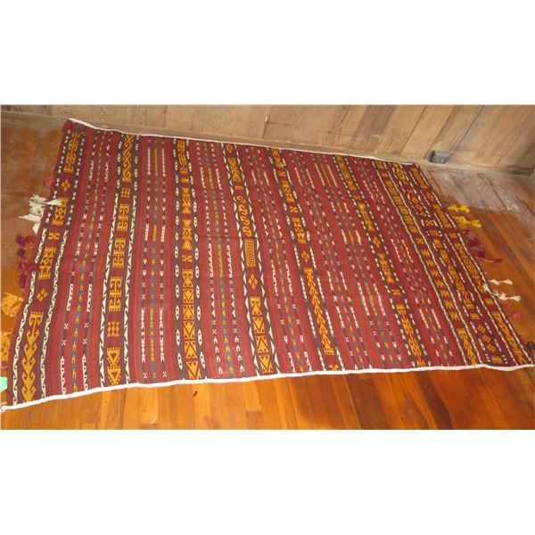 """Woven Rug, Geometric Pattern Red/Yellow/White/Blue 83"""" x 56"""""""