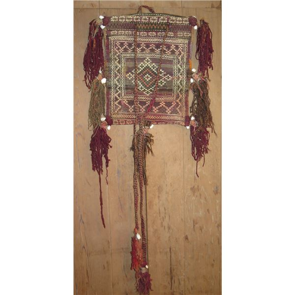 "Tapestry Bag, Geometric Pattern Brown/Red/Orange/Cream 15"" x 19"""