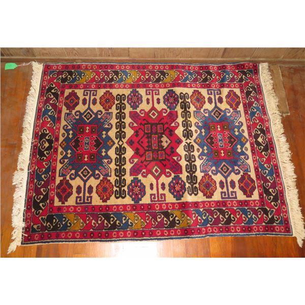 "Persian Rug, Geometric Pattern Red /Blue/Black/Yellow/Cream 51"" x 40"""
