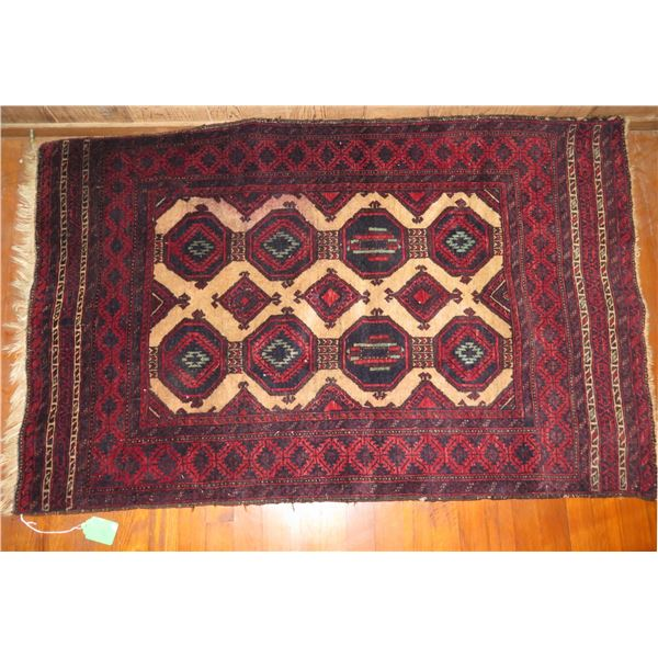 "Persian Rug, Geometric Pattern Red/Navy/Blue/Cream 54"" x 34"""