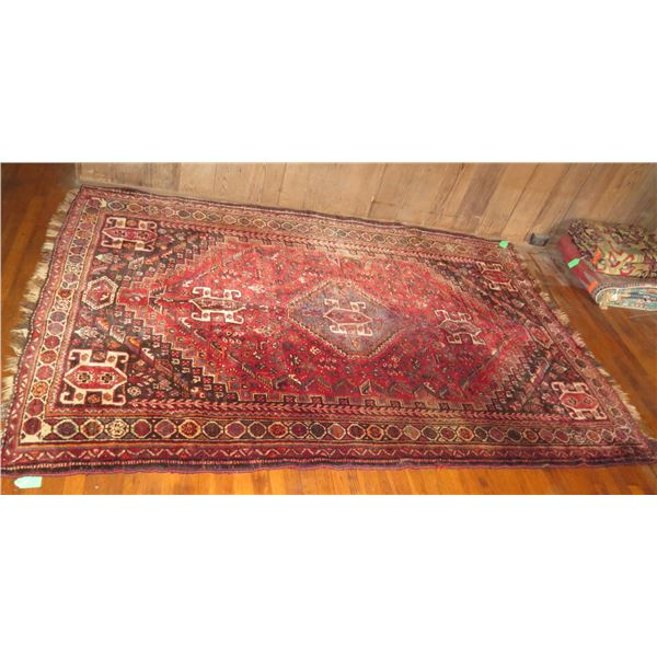 "Persian Rug, Geometric Pattern Red/Black /Orange/White 102"" x 68"""