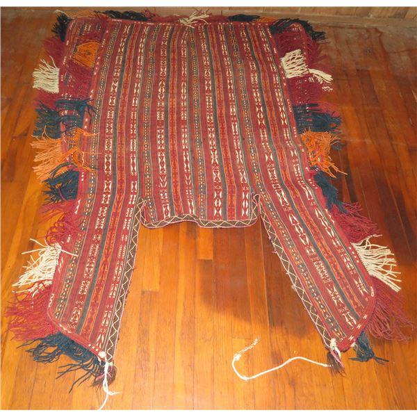 "Woven Tapestry Geometric Pattern Red/Blue/Orange/White 74"" x 48"""