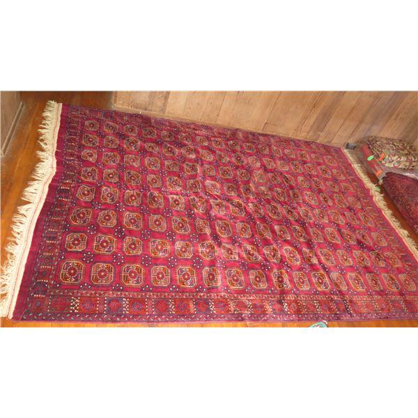 "Persian Rug Geometric Pattern Red/Navy/Orange/Cream 127"" x 87"""