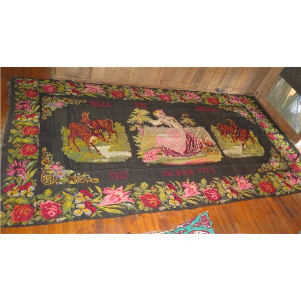 """Woven Area Rug, 1928 Women & Deer w/Floral Border (Hole in Rug) 162"""" x 84"""""""