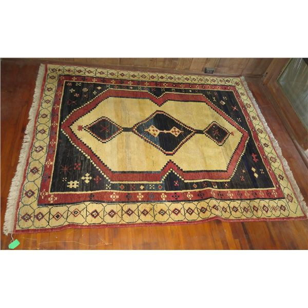 "Persian Rug, Geometric Pattern Red/Navy/White 98"" x 80"""