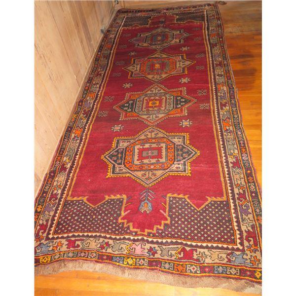 "Persian Runner Rug, Geometric Pattern Hand Made  Red/Blue/Yellow/White 140"" x 60"""
