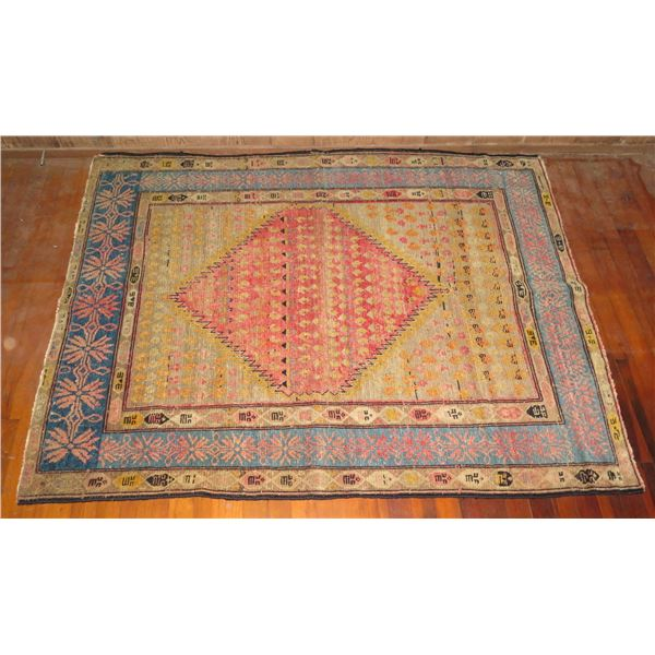 "Woven Rug, Geometric Pattern Pink/Cream/Blue/Yellow/Black 60"" x 48"""