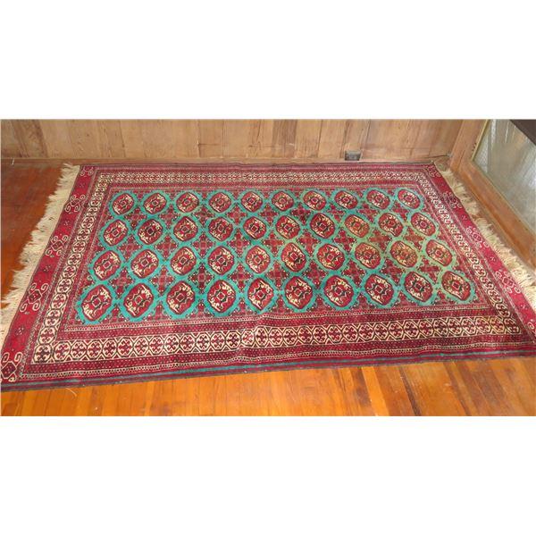 "Persian Wool Area Rug, Geometric Pattern Red/Cream/Turquoise 106"" x 74"""