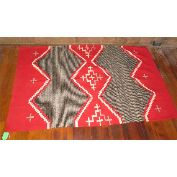 """Woven Area Rug, Geometric Pattern Red/Black/White 70"""" x 46"""""""