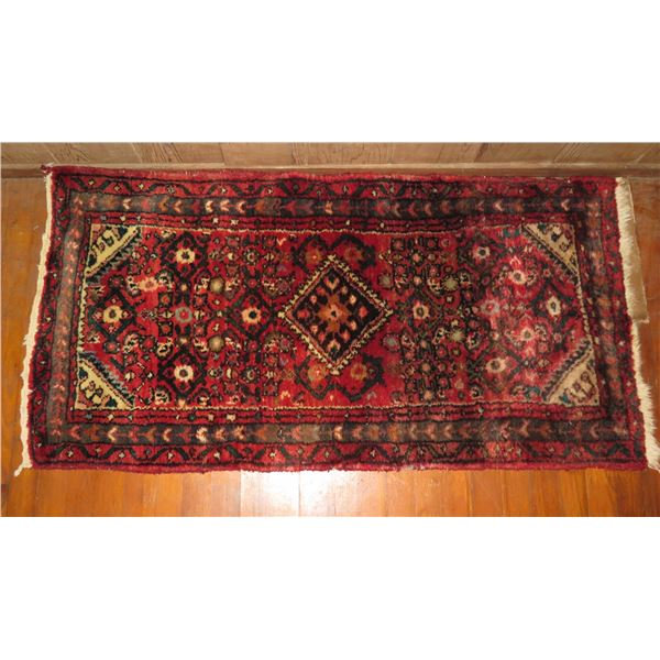 "Persian Rug, Geometric Pattern Red/Navy/White 49"" x 26"""