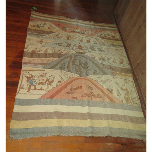 "Asian Woven Area Rug, Pictoral Design Cream/Brown/Orange/Yellow 85"" x 62"""