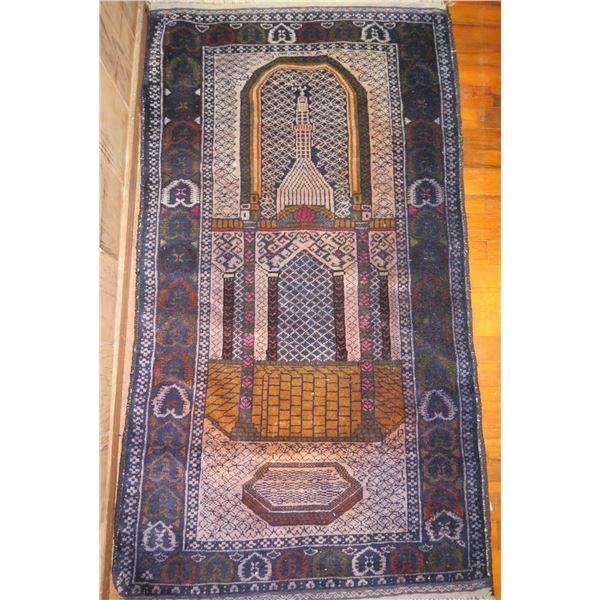 """Asian Woven Runner Rug, Temple Motif Blue/White/Yellow/Red 55"""" x 32"""""""
