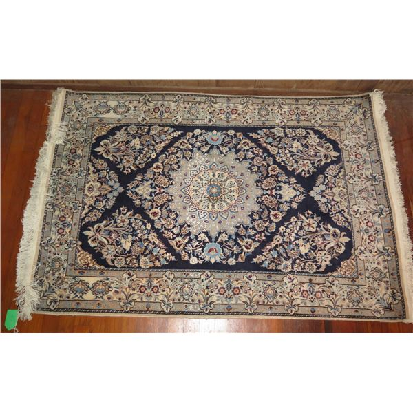 """Persian Rug, Floral Motif Cream/Navy/Blue/Red 57"""" x 40"""""""